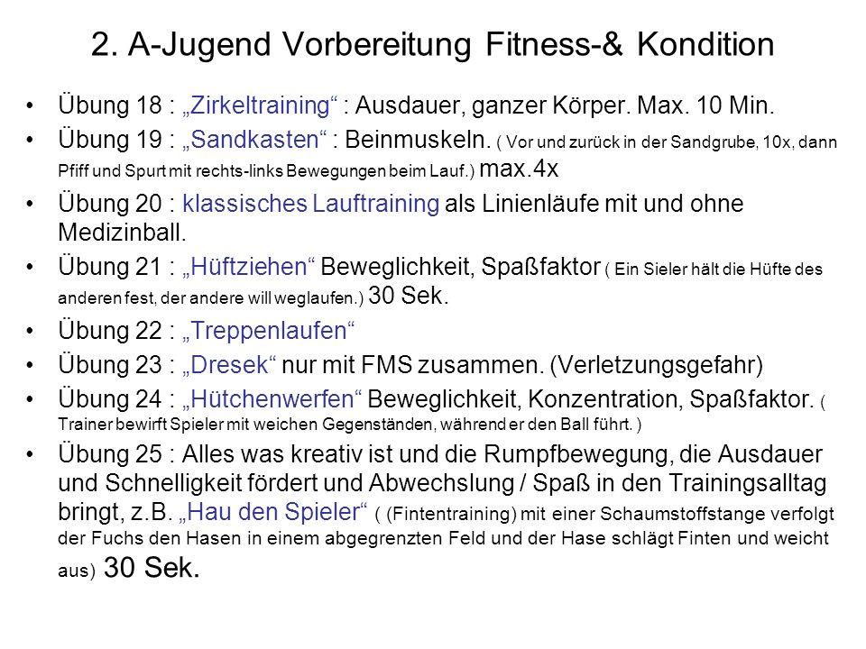 2. A-Jugend Vorbereitung Fitness-& Kondition Übung 18 : Zirkeltraining : Ausdauer, ganzer Körper. Max. 10 Min. Übung 19 : Sandkasten : Beinmuskeln. (