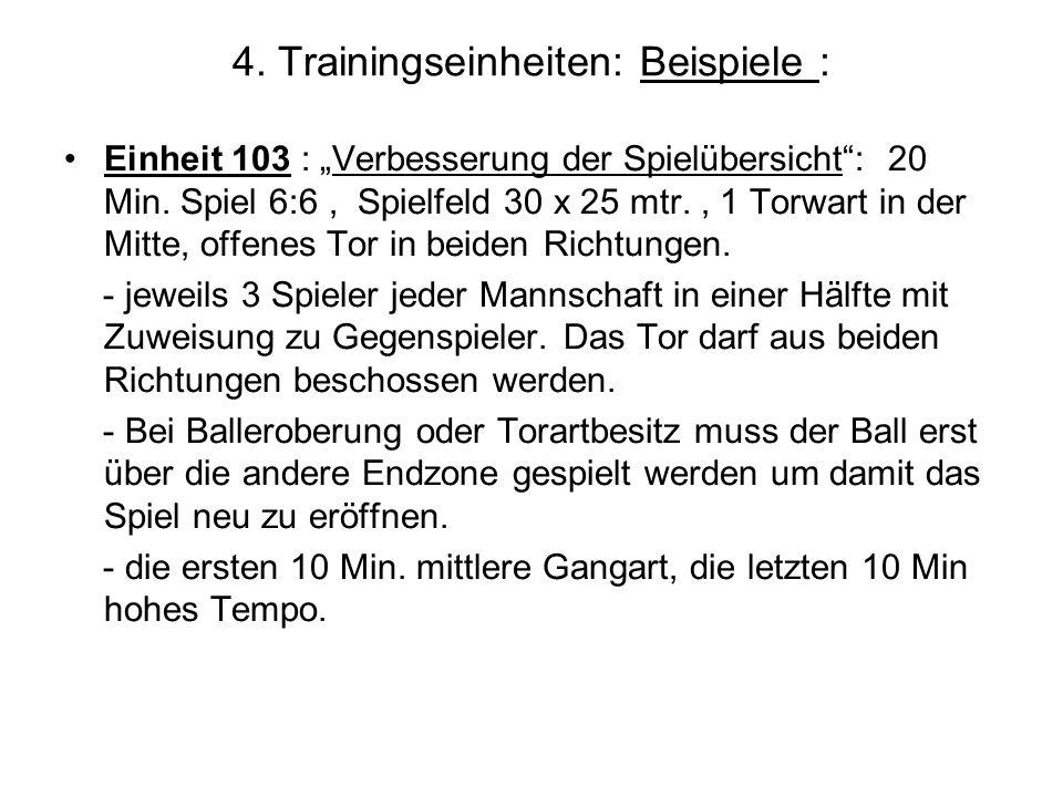 4. Trainingseinheiten: Beispiele : Einheit 103 : Verbesserung der Spielübersicht: 20 Min. Spiel 6:6, Spielfeld 30 x 25 mtr., 1 Torwart in der Mitte, o