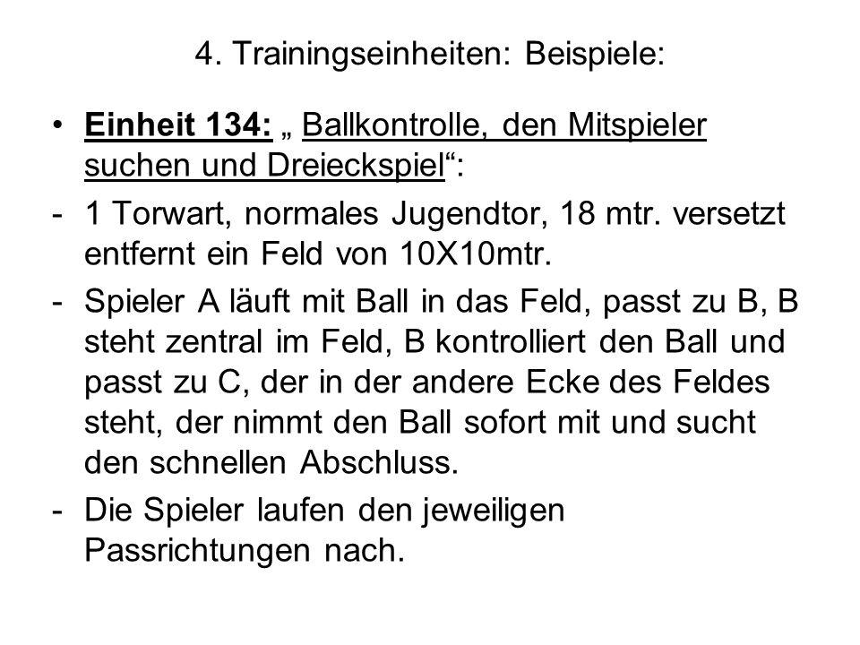 4. Trainingseinheiten: Beispiele: Einheit 134: Ballkontrolle, den Mitspieler suchen und Dreieckspiel: -1 Torwart, normales Jugendtor, 18 mtr. versetzt