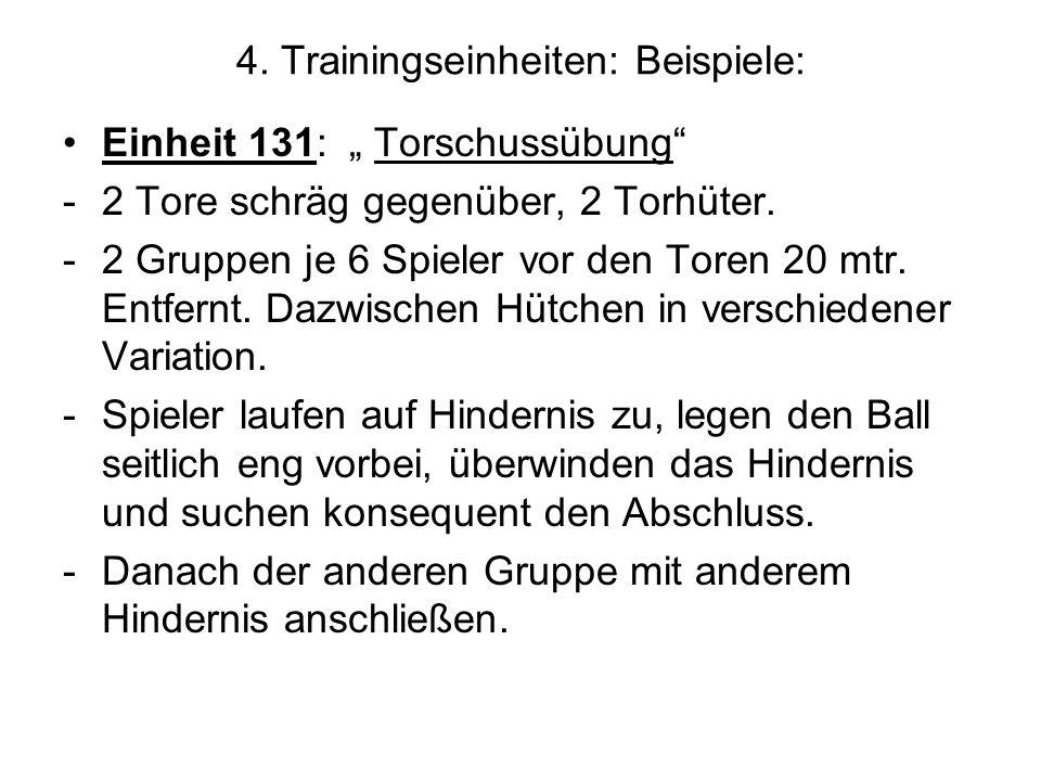 4. Trainingseinheiten: Beispiele: Einheit 131: Torschussübung -2 Tore schräg gegenüber, 2 Torhüter. -2 Gruppen je 6 Spieler vor den Toren 20 mtr. Entf