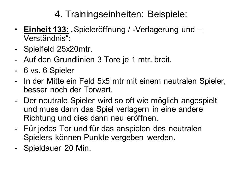 4. Trainingseinheiten: Beispiele: Einheit 133: Spieleröffnung / -Verlagerung und – Verständnis: -Spielfeld 25x20mtr. -Auf den Grundlinien 3 Tore je 1
