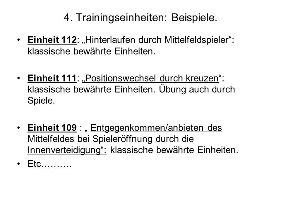 4. Trainingseinheiten: Beispiele. Einheit 112: Hinterlaufen durch Mittelfeldspieler: klassische bewährte Einheiten. Einheit 111: Positionswechsel durc