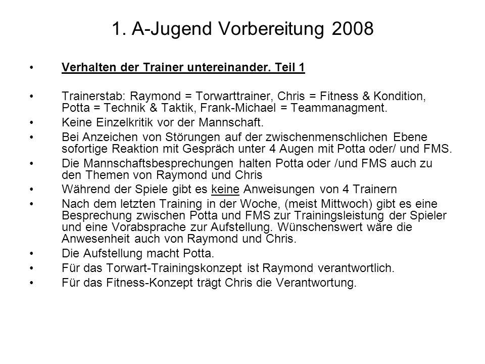 1. A-Jugend Vorbereitung 2008 Verhalten der Trainer untereinander. Teil 1 Trainerstab: Raymond = Torwarttrainer, Chris = Fitness & Kondition, Potta =