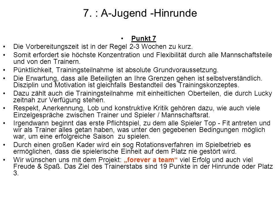 7. : A-Jugend -Hinrunde Punkt 7 Die Vorbereitungszeit ist in der Regel 2-3 Wochen zu kurz. Somit erfordert sie höchste Konzentration und Flexibilität