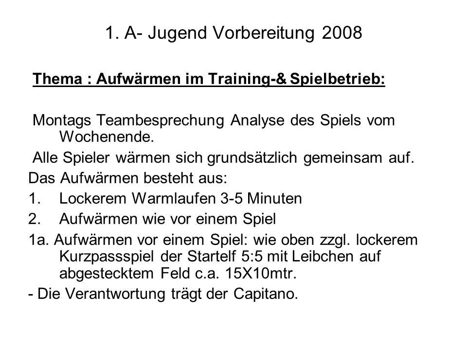1. A- Jugend Vorbereitung 2008 Thema : Aufwärmen im Training-& Spielbetrieb: Montags Teambesprechung Analyse des Spiels vom Wochenende. Alle Spieler w