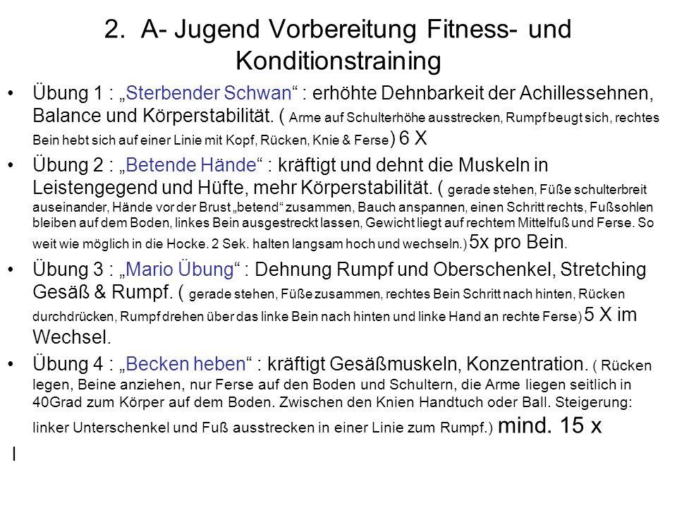 2. A- Jugend Vorbereitung Fitness- und Konditionstraining Übung 1 : Sterbender Schwan : erhöhte Dehnbarkeit der Achillessehnen, Balance und Körperstab