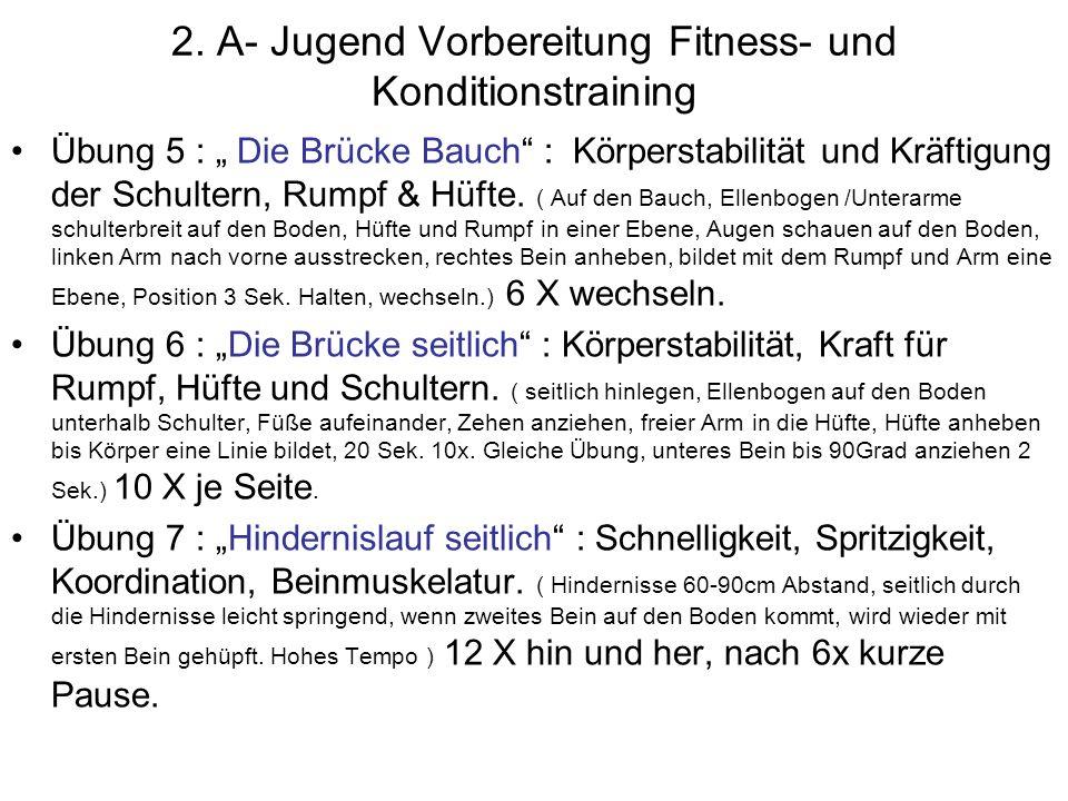 2.A-Jugend Vorbereitung Fitness- & Konditionstraining Übung 8 : Seildehnen Beinrückenseite: Stärkung Oberschenkelmuskeln, bessere Beweglichkeit.