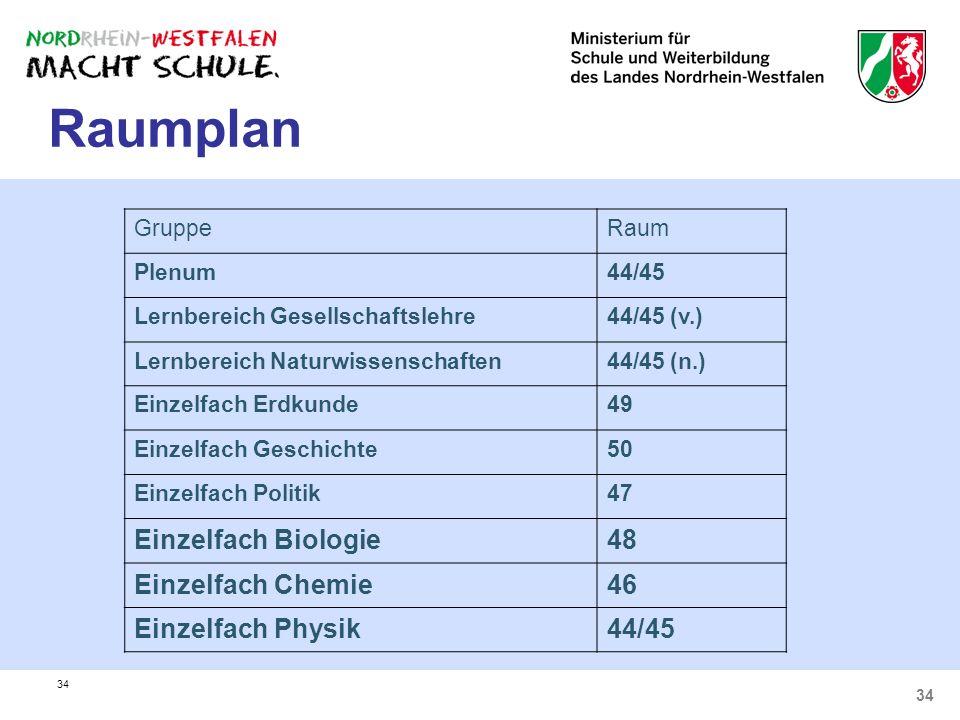 34 Raumplan GruppeRaum Plenum44/45 Lernbereich Gesellschaftslehre44/45 (v.) Lernbereich Naturwissenschaften44/45 (n.) Einzelfach Erdkunde49 Einzelfach