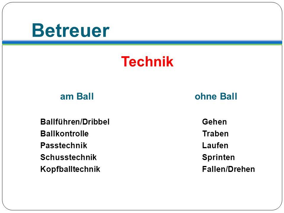 Betreuer Technik am Ball ohne Ball Ballführen/DribbelGehen BallkontrolleTraben PasstechnikLaufen SchusstechnikSprinten KopfballtechnikFallen/Drehen