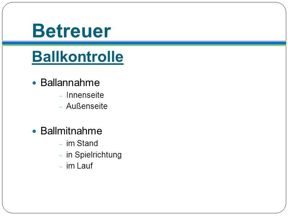 Betreuer Ballkontrolle Ballannahme Innenseite Außenseite Ballmitnahme im Stand in Spielrichtung im Lauf