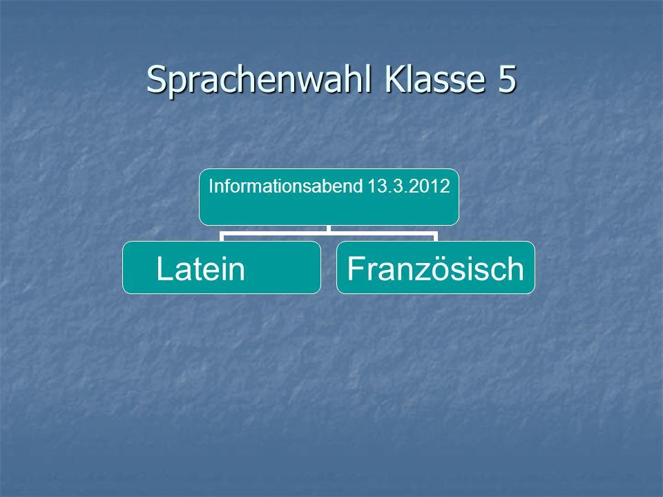Sprachenwahl Klasse 5 Informationsabend 13.3.2012 LateinFranzösisch