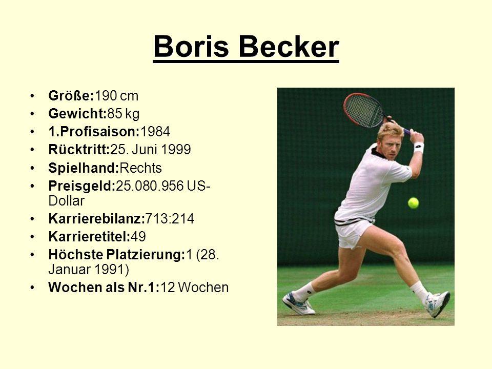Boris Becker Größe:190 cm Gewicht:85 kg 1.Profisaison:1984 Rücktritt:25.