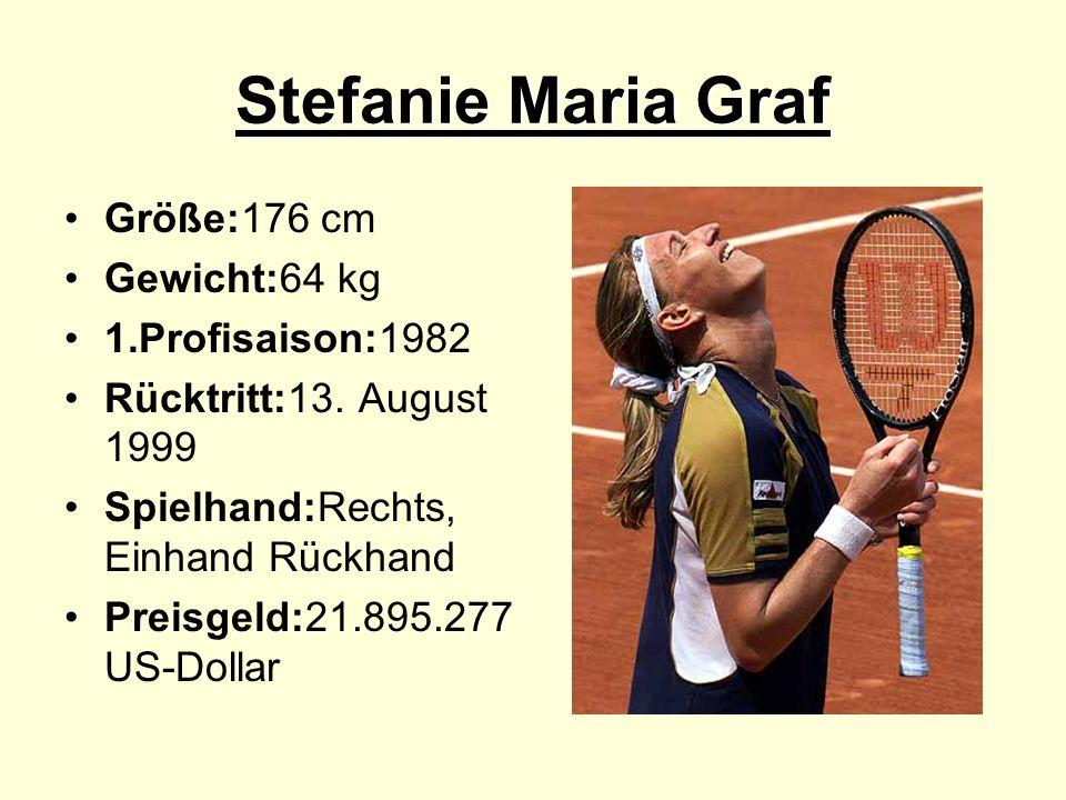 Stefanie Maria Graf Größe:176 cm Gewicht:64 kg 1.Profisaison:1982 Rücktritt:13. August 1999 Spielhand:Rechts, Einhand Rückhand Preisgeld:21.895.277 US