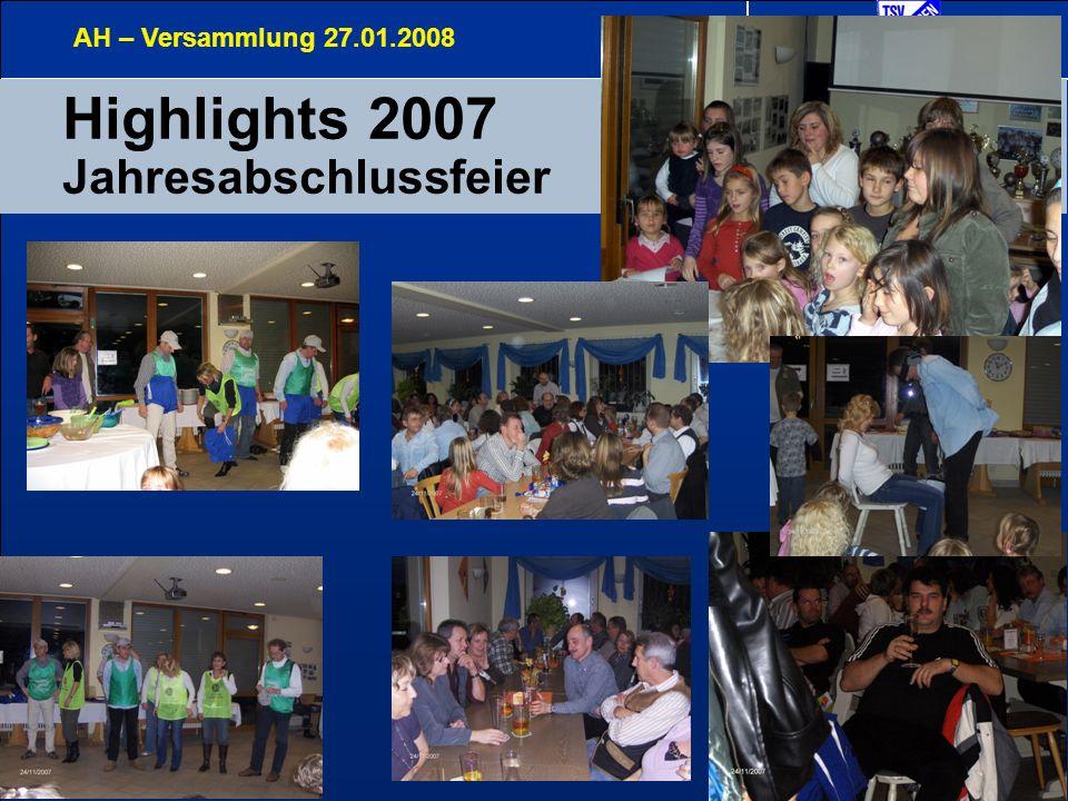 12 Sonstiges AH – Versammlung 27.01.2008 Trainingsbeteiligung Organisation (Entlastungen)