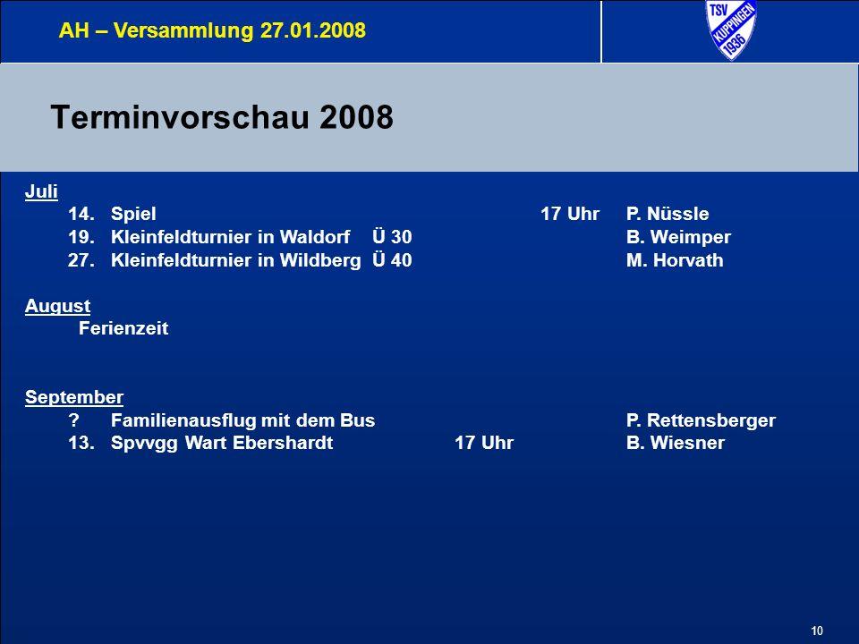 10 Terminvorschau 2008 AH – Versammlung 27.01.2008 Juli 14.Spiel17 UhrP. Nüssle 19.Kleinfeldturnier in Waldorf Ü 30B. Weimper 27.Kleinfeldturnier in W