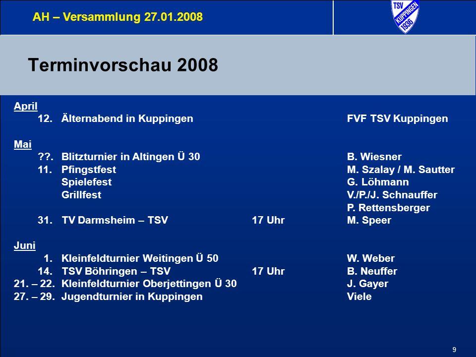 9 Terminvorschau 2008 AH – Versammlung 27.01.2008 April 12.Älternabend in KuppingenFVF TSV Kuppingen Mai ??.Blitzturnier in Altingen Ü 30 B. Wiesner 1