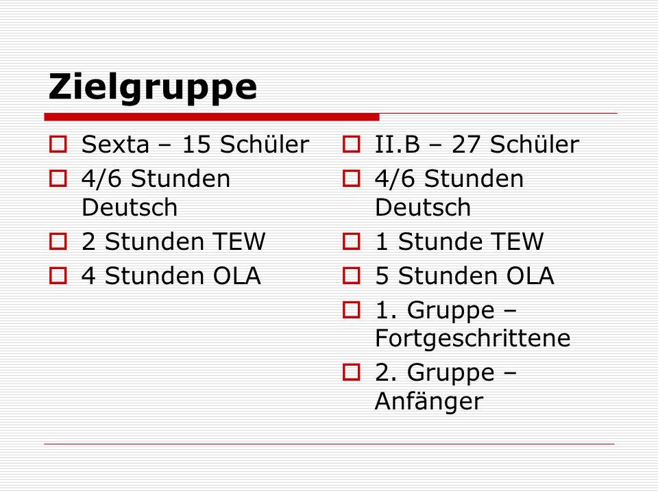 Zielgruppe Sexta – 15 Schüler 4/6 Stunden Deutsch 2 Stunden TEW 4 Stunden OLA II.B – 27 Schüler 4/6 Stunden Deutsch 1 Stunde TEW 5 Stunden OLA 1.