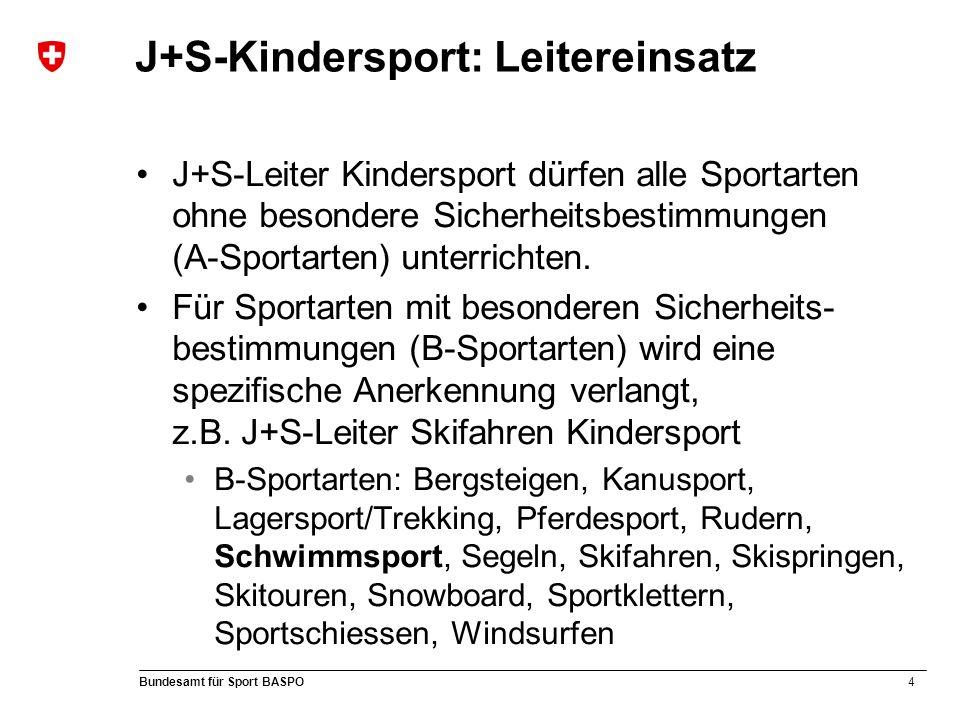 4 Bundesamt für Sport BASPO J+S-Kindersport: Leitereinsatz J+S-Leiter Kindersport dürfen alle Sportarten ohne besondere Sicherheitsbestimmungen (A-Sportarten) unterrichten.