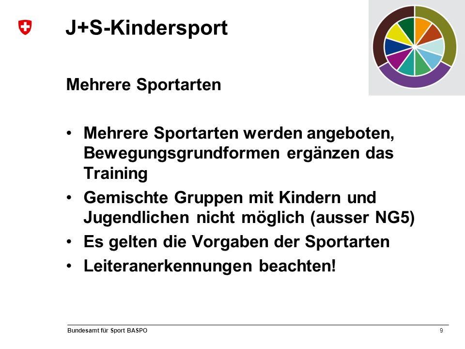 9 Bundesamt für Sport BASPO J+S-Kindersport Mehrere Sportarten Mehrere Sportarten werden angeboten, Bewegungsgrundformen ergänzen das Training Gemischte Gruppen mit Kindern und Jugendlichen nicht möglich (ausser NG5) Es gelten die Vorgaben der Sportarten Leiteranerkennungen beachten!