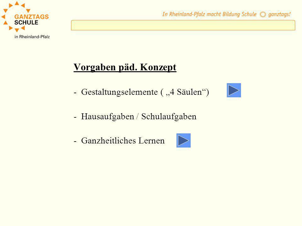 Vorgaben päd. Konzept - Gestaltungselemente ( 4 Säulen) - Hausaufgaben / Schulaufgaben - Ganzheitliches Lernen