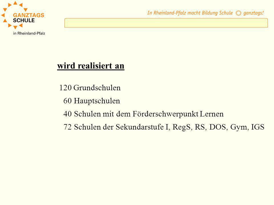 Ausbauprogramm 81 Ganztagsschulen in neuer Form seit 1.