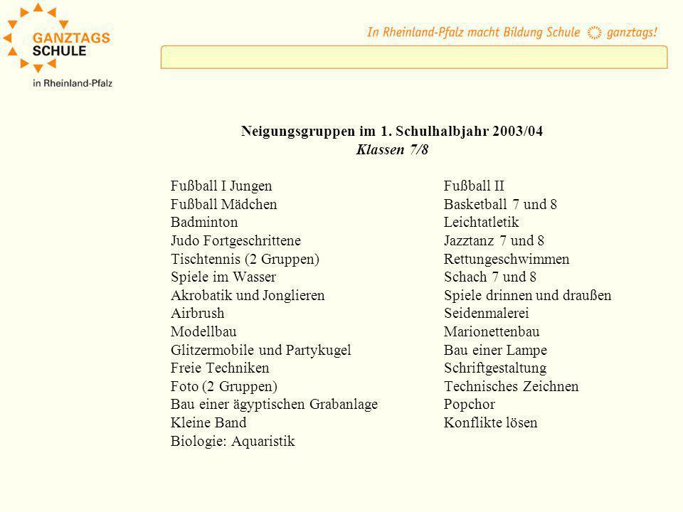 Neigungsgruppen im 1. Schulhalbjahr 2003/04 Klassen 7/8 Fußball I JungenFußball II Fußball MädchenBasketball 7 und 8 BadmintonLeichtatletik Judo Fortg