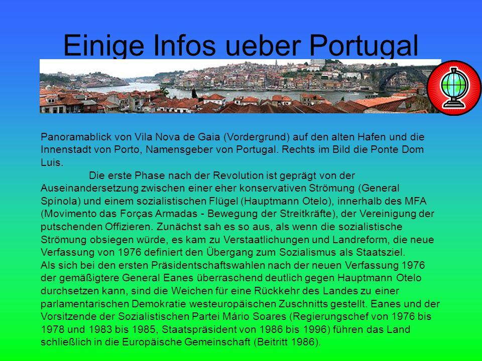 Einige Infos ueber Portugal Panoramablick von Vila Nova de Gaia (Vordergrund) auf den alten Hafen und die Innenstadt von Porto, Namensgeber von Portugal.