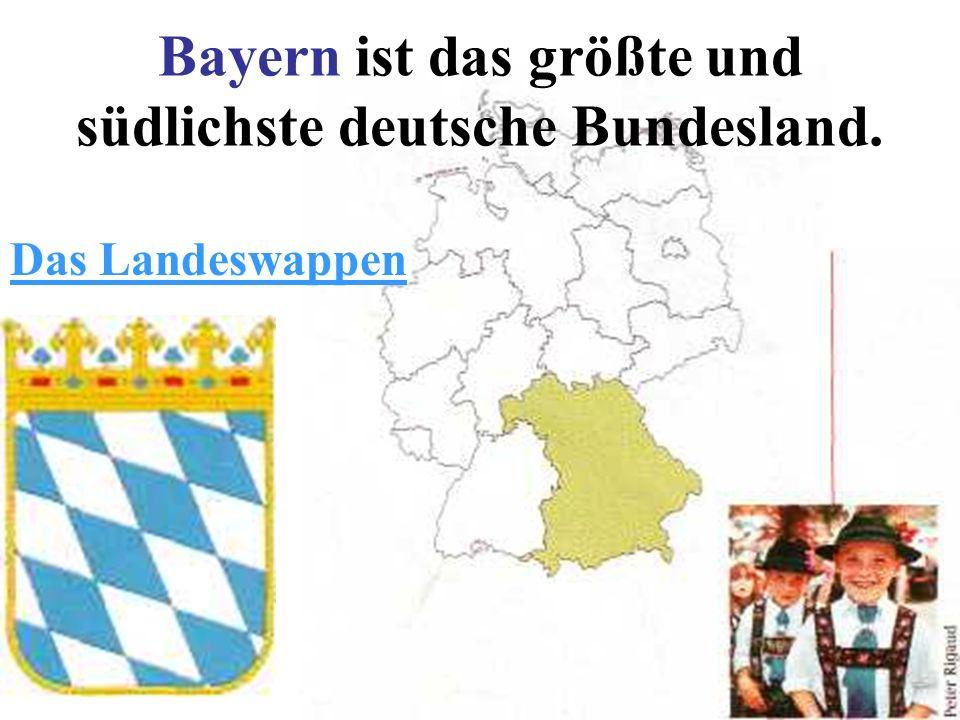 Bayern ist das größte und südlichste deutsche Bundesland. Das Landeswappen