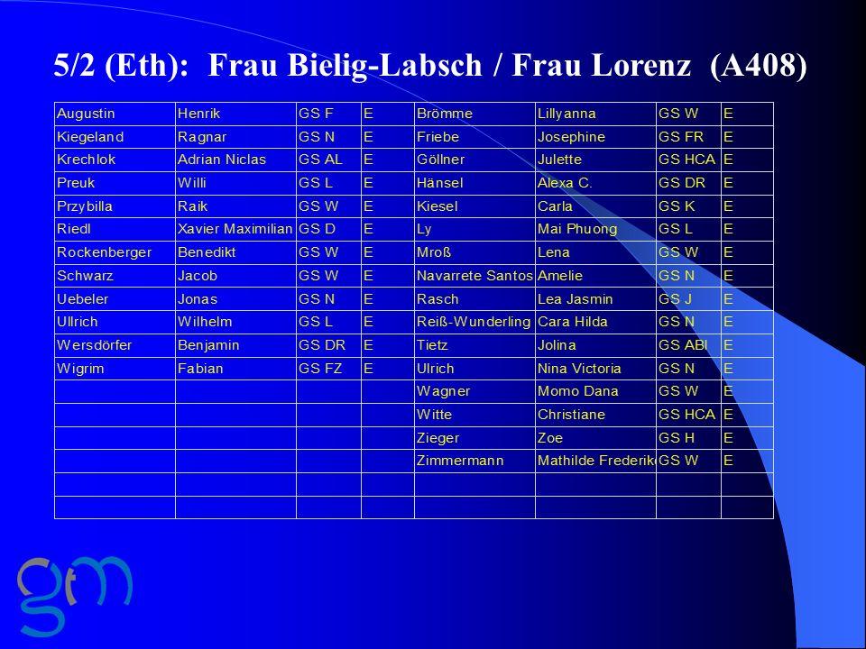 5/2 (Eth): Frau Bielig-Labsch / Frau Lorenz (A408)