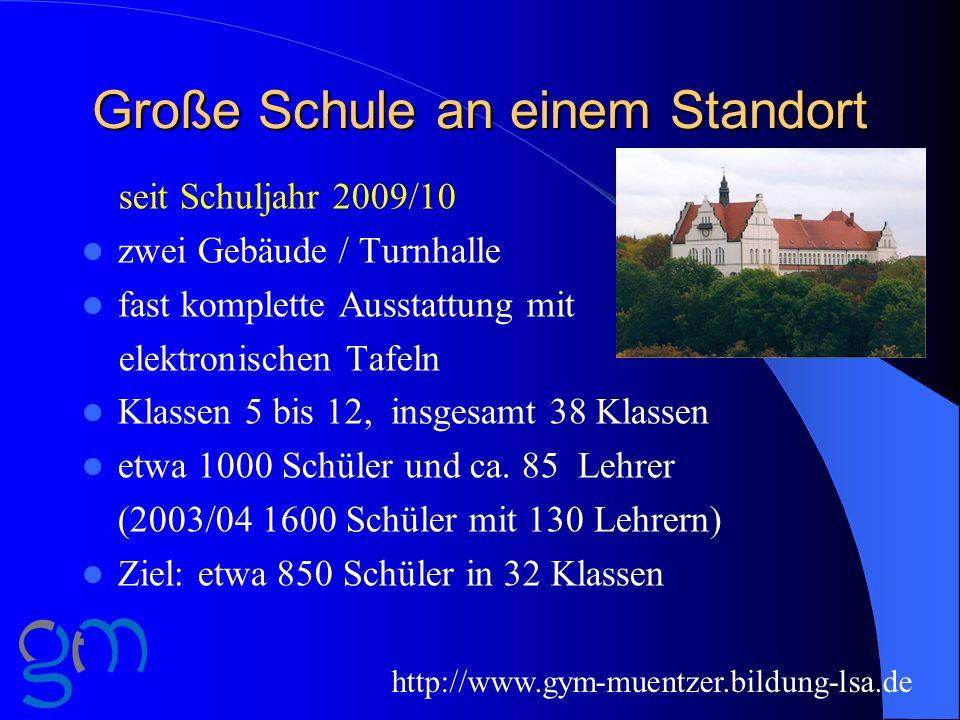 Große Schule an einem Standort seit Schuljahr 2009/10 zwei Gebäude / Turnhalle fast komplette Ausstattung mit elektronischen Tafeln Klassen 5 bis 12,