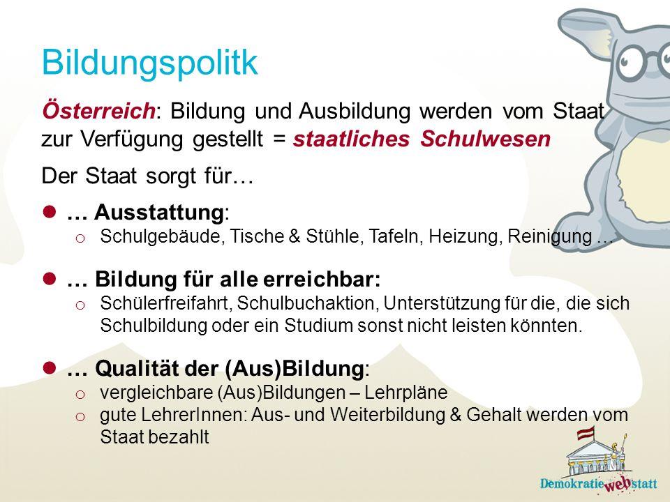 Bildungspolitk Österreich: Bildung und Ausbildung werden vom Staat zur Verfügung gestellt = staatliches Schulwesen Der Staat sorgt für… … Ausstattung: