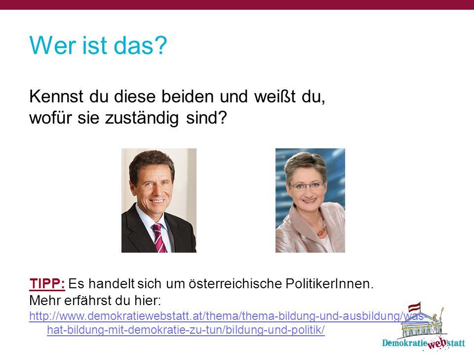 Wer ist das? Kennst du diese beiden und weißt du, wofür sie zuständig sind? TIPP: Es handelt sich um österreichische PolitikerInnen. Mehr erfährst du