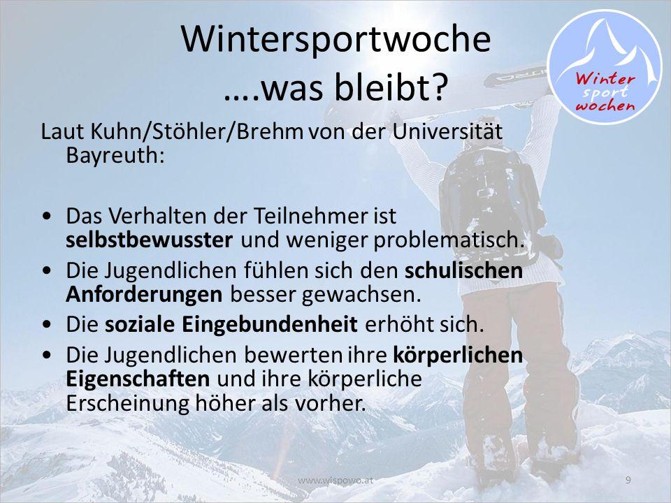 www.wispowo.at9 Wintersportwoche ….was bleibt? Laut Kuhn/Stöhler/Brehm von der Universität Bayreuth: Das Verhalten der Teilnehmer ist selbstbewusster