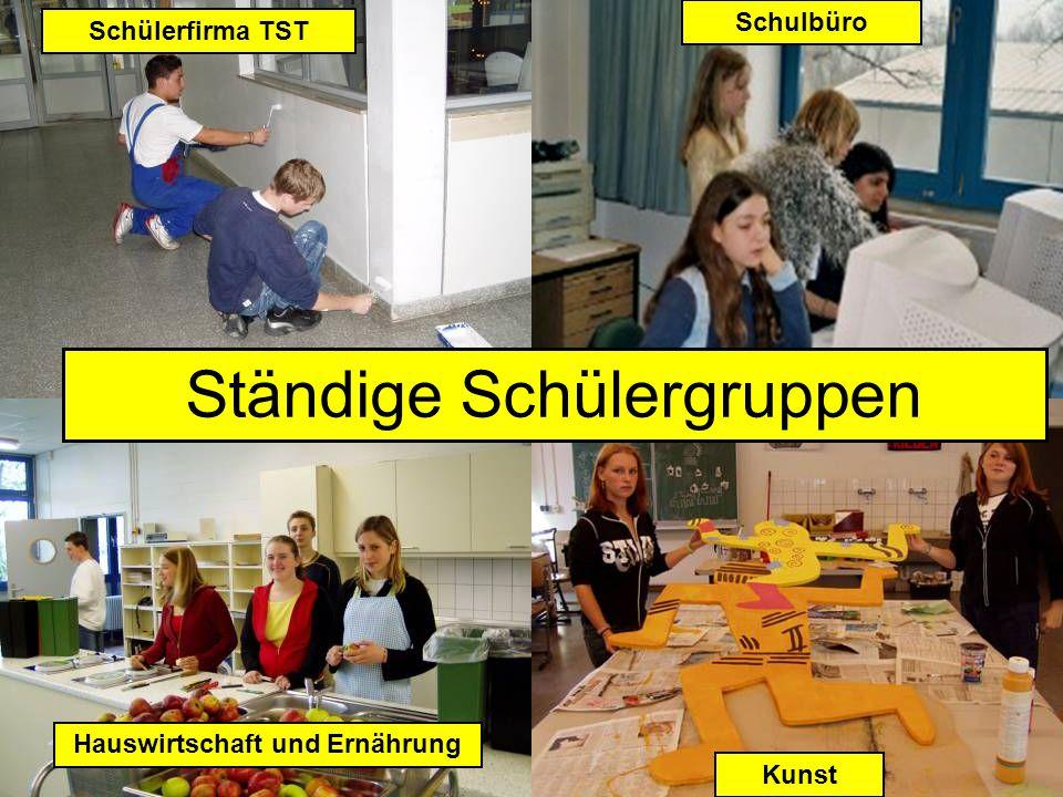 WP Ständige Schülergruppen Hauswirtschaft und Ernährung Kunst Schülerfirma TST Schulbüro