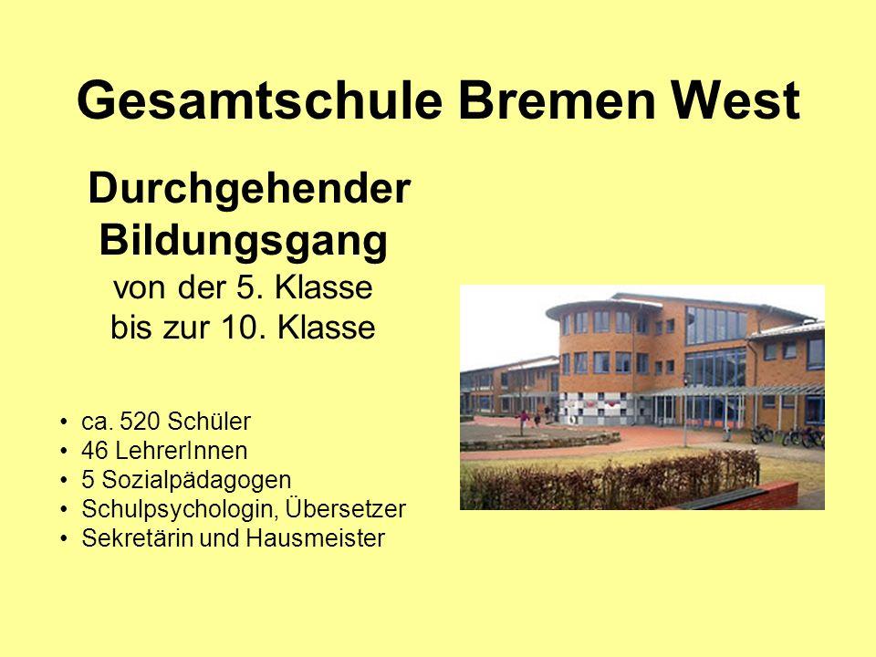 Gesamtschule Bremen West Durchgehender Bildungsgang von der 5. Klasse bis zur 10. Klasse ca. 520 Schüler 46 LehrerInnen 5 Sozialpädagogen Schulpsychol