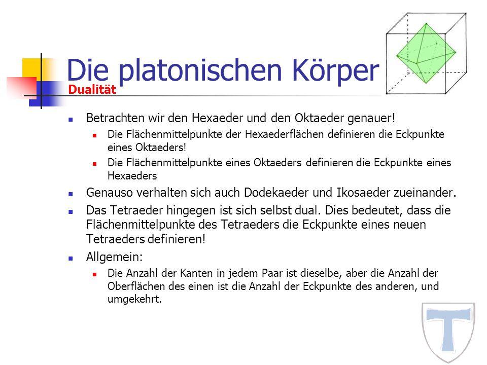 Die platonischen Körper Betrachten wir den Hexaeder und den Oktaeder genauer! Die Flächenmittelpunkte der Hexaederflächen definieren die Eckpunkte ein