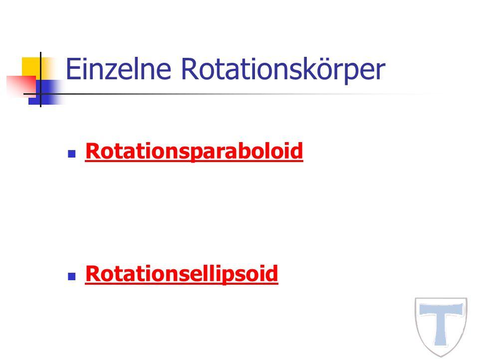 Einzelne Rotationskörper Rotationsparaboloid Rotationsellipsoid