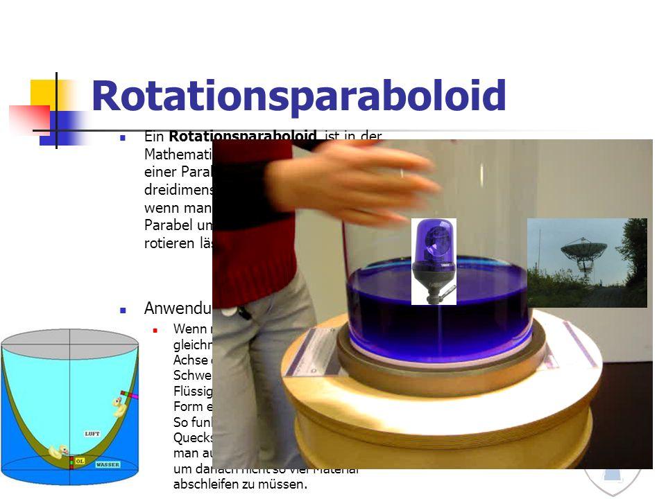 Rotationsparaboloid Ein Rotationsparaboloid ist in der Mathematik der Rotationskörper einer Parabel, also die dreidimensionale Figur, die entsteht, we