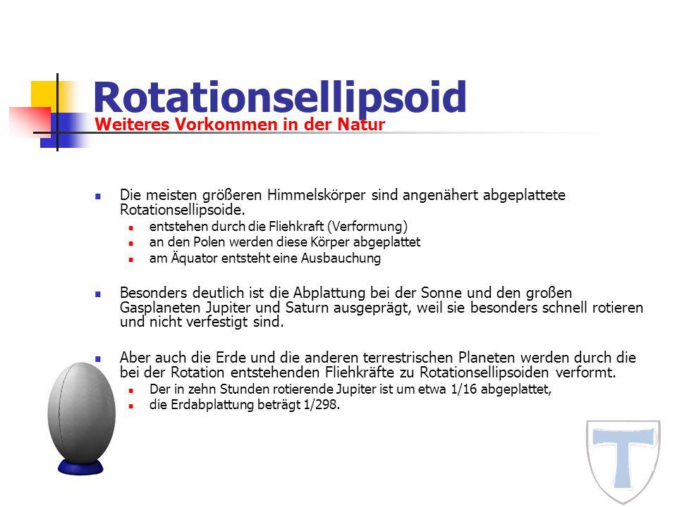 Rotationsellipsoid Die meisten größeren Himmelskörper sind angenähert abgeplattete Rotationsellipsoide. entstehen durch die Fliehkraft (Verformung) an