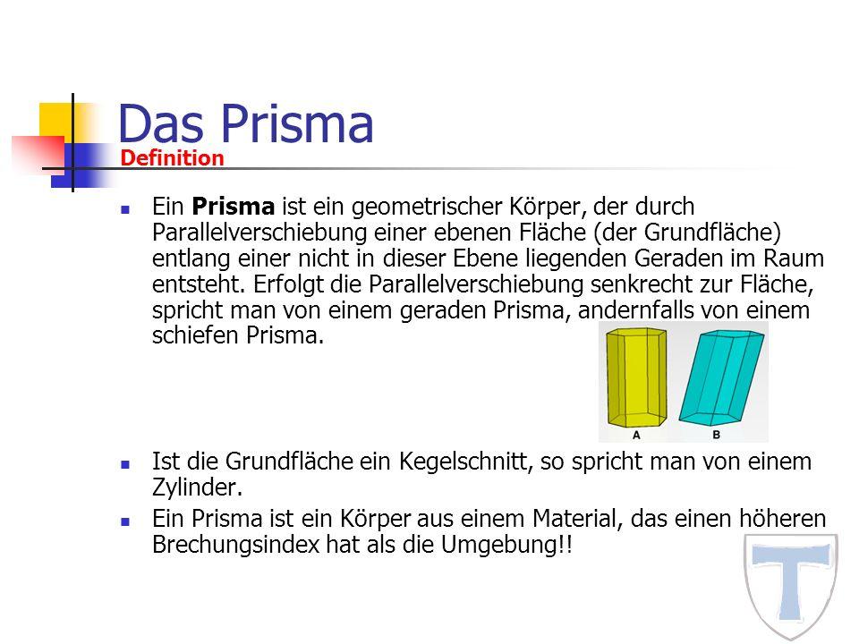 Das Prisma Ein Prisma ist ein geometrischer Körper, der durch Parallelverschiebung einer ebenen Fläche (der Grundfläche) entlang einer nicht in dieser