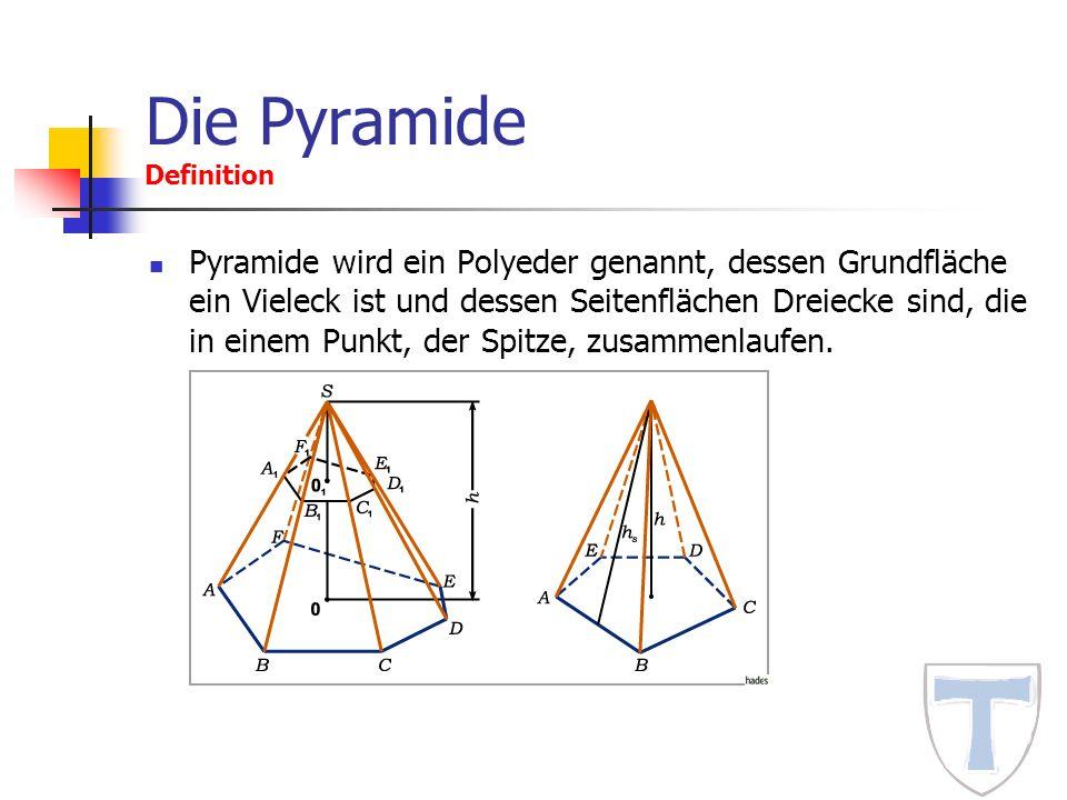 Die Pyramide Definition Pyramide wird ein Polyeder genannt, dessen Grundfläche ein Vieleck ist und dessen Seitenflächen Dreiecke sind, die in einem Pu