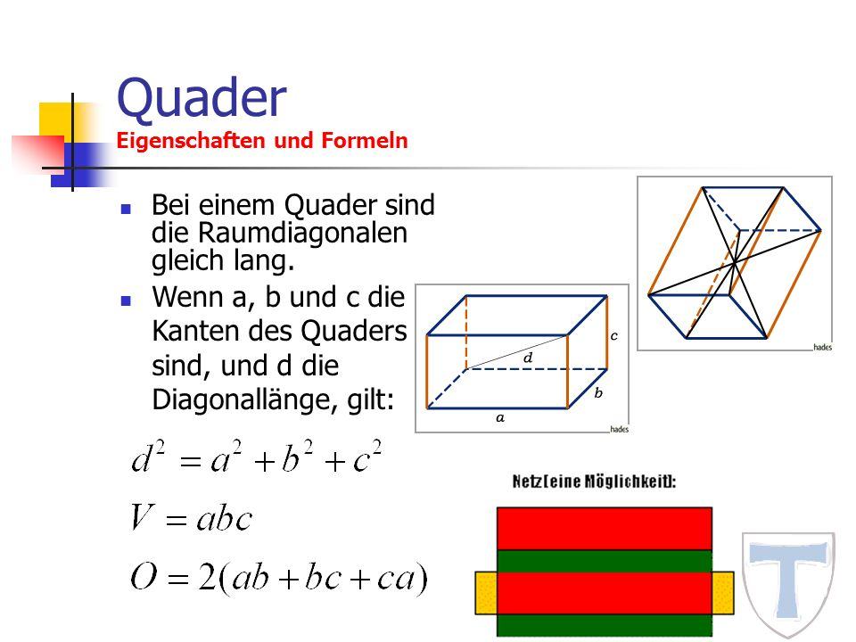 Quader Eigenschaften und Formeln Bei einem Quader sind die Raumdiagonalen gleich lang. Wenn a, b und c die Kanten des Quaders sind, und d die Diagonal