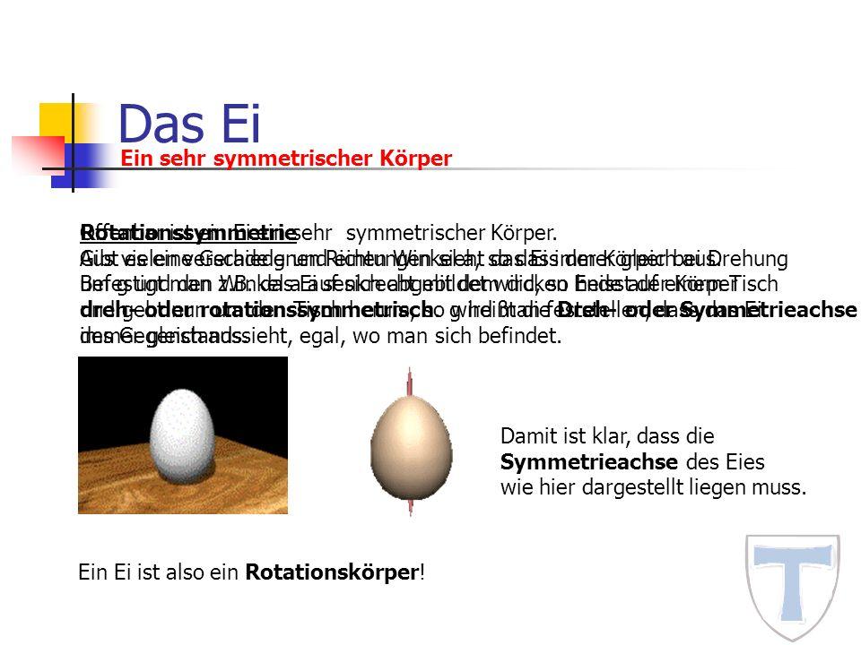 Das Ei Ein sehr symmetrischer Körper Rotationssymmetrie Gibt es eine Gerade g und einen Winkel a, so dass der Körper bei Drehung um g und den Winkel a