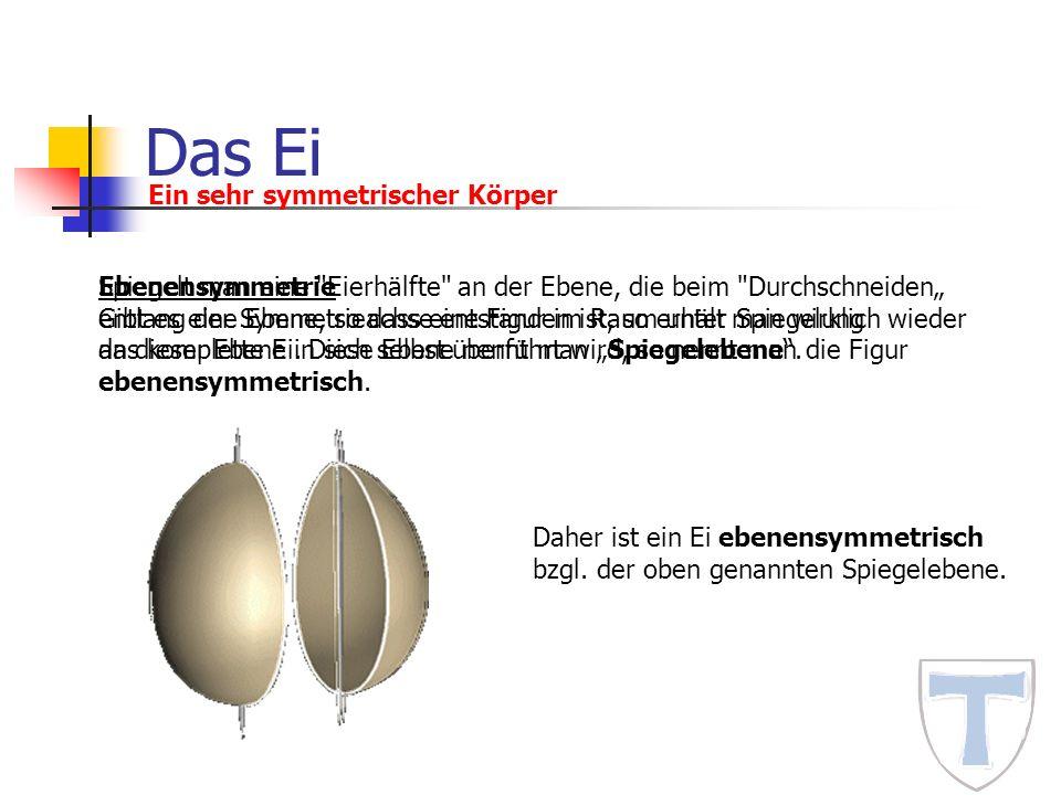 Das Ei Ein sehr symmetrischer Körper Ebenensymmetrie Gibt es eine Ebene, so dass eine Figur im Raum unter Spiegelung an dieser Ebene in sich selbst üb