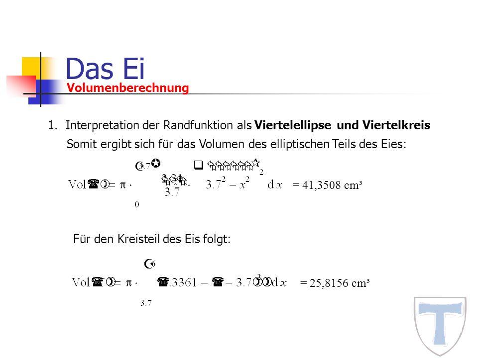 Das Ei Volumenberechnung 1.Interpretation der Randfunktion als Viertelellipse und Viertelkreis Somit ergibt sich für das Volumen des elliptischen Teil