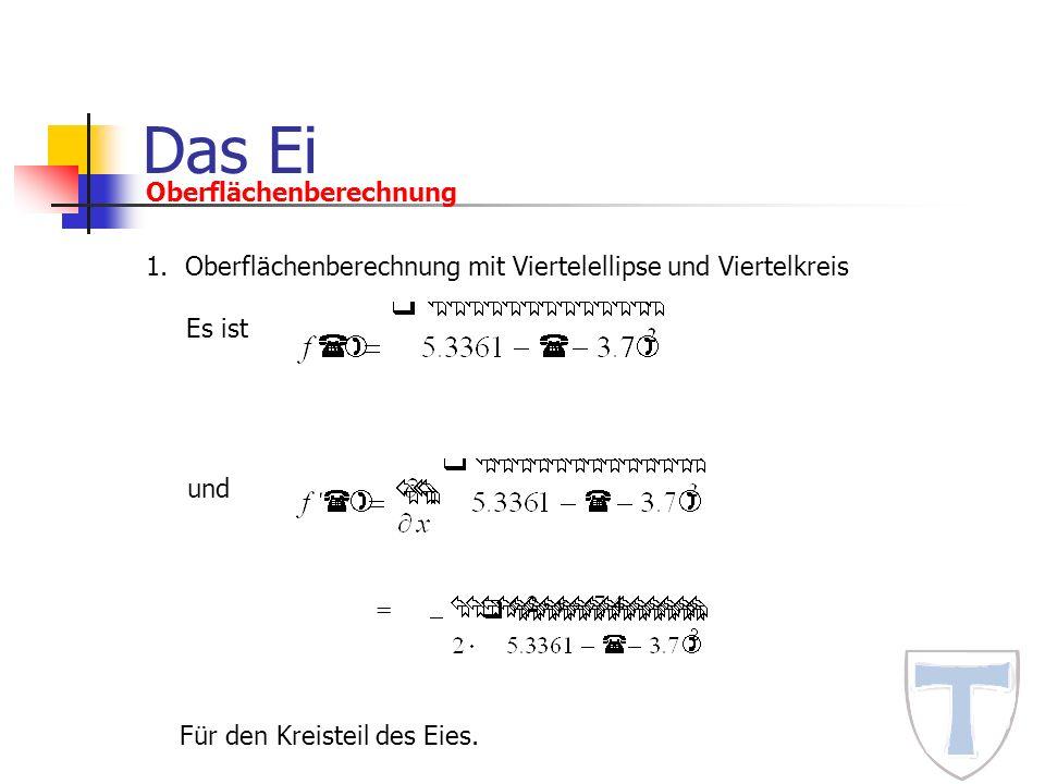 Das Ei Oberflächenberechnung 1.Oberflächenberechnung mit Viertelellipse und Viertelkreis Es ist = und Für den Kreisteil des Eies.