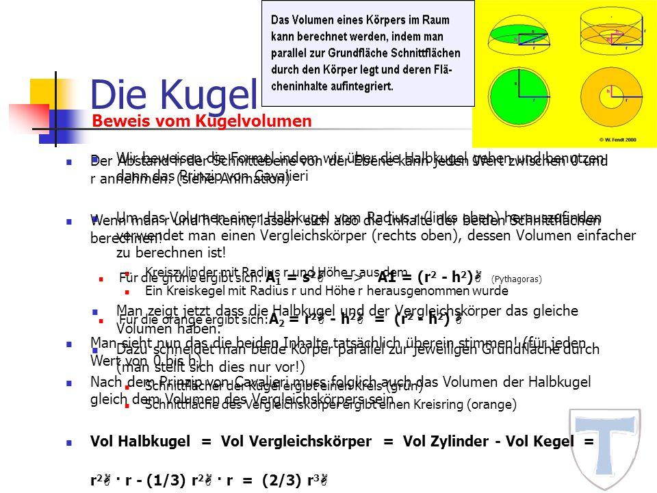 Die Kugel Wir beweisen die Formel indem wir über die Halbkugel gehen und benutzen dann das Prinzip von Cavalieri Um das Volumen einer Halbkugel vom Ra