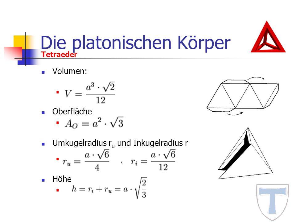 Die platonischen Körper Volumen: Oberfläche Umkugelradius r u und Inkugelradius r, Höhe Tetraeder