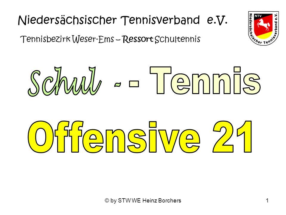 © by STW WE Heinz Borchers2 Tennisbezirk Weser-Ems Schultennis – Zukunft + Chancen auch für Weser-Ems – durch Integrieren statt Isolieren.
