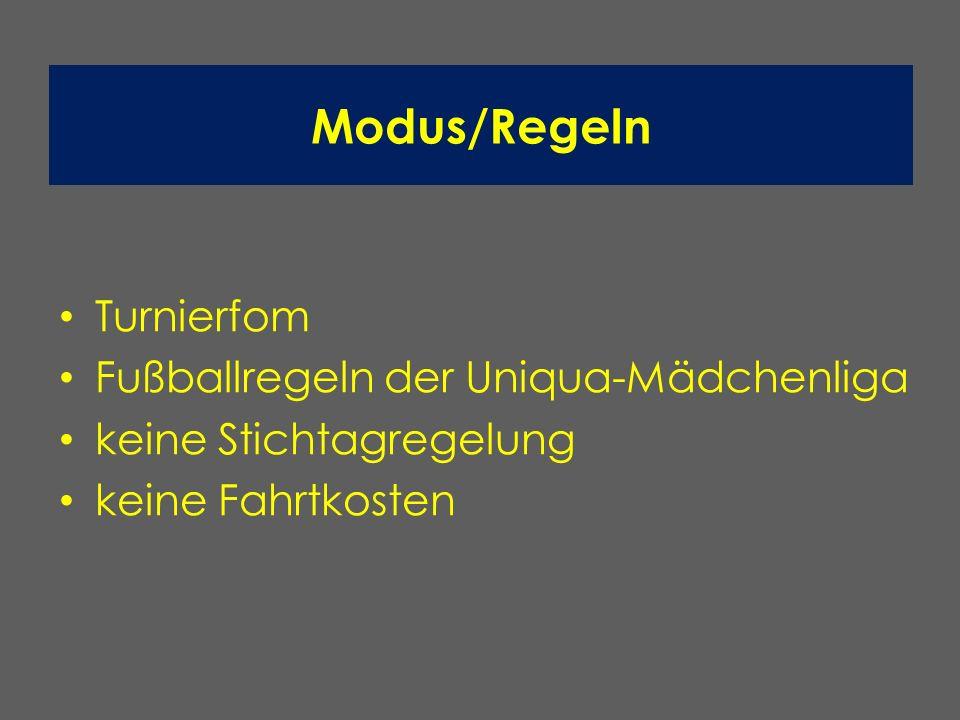 Modus/Regeln Turnierfom Fußballregeln der Uniqua-Mädchenliga keine Stichtagregelung keine Fahrtkosten